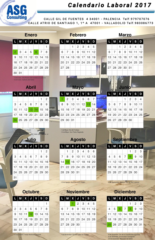 Calendario Laboral Valladolid.Calendario Laboral 2017 Valladolid Asgconsulting